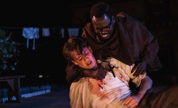 Oliver Ryan as Romeo (left) & Mandela Mathia as Friar Lawrence