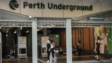 Perth's underground train station on Monday morning.