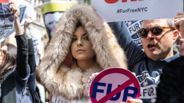 Activists lobbying in May for New York City to ban fur sales.