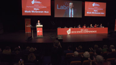 WA Premier Mark McGowan delivers his speech at the WA Labor Conference.