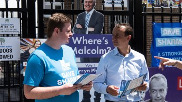 Liberal candidate Dave Sharma campaigns at Waverley Public School.