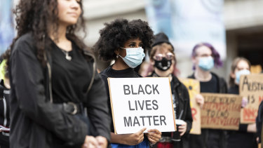 Black Lives Matter protest in Forrest Chase, Perth on WA Day 2020.