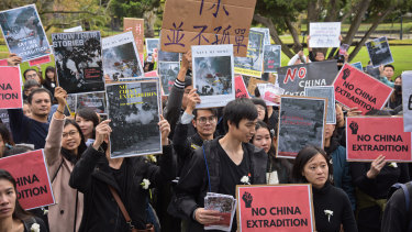 More than 400 people took to to the streets of Perth on Sunday afternoon to march in support of demonstrators in Hong Kong.