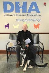 Joe Biden and his adopted German shepherd Major, in Wilmington, Delaware in 2018.