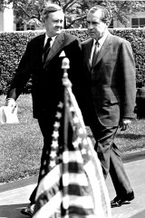President Nixon Strolls outside the White House today with Australia's Prime Minister John G. Gorton during an official welcoming ceremony. May 6, 1969.
