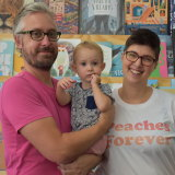 Rabble Books owners Sam Baker and Natalie Latter with daughter Pippin.