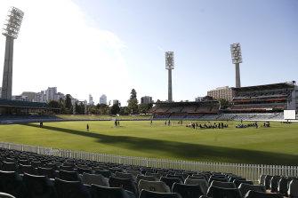 The Australian Test team training at the WACA last year.