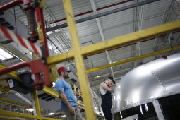 The slump in the US manufacturing sector may have bottomed out last month.