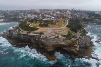 Aerial view of Marks Park, the dress circle vantage point of Sculpture by the Sea at Bondi, and the controversial concrete path.