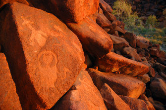 Ancient rock art at Deep Gorge on Burrup Peninsula in Western Australia. Matthew Colloff says there should be a  deep respect for Country's authority and autonomy.