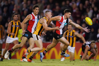 Hawthorn's Tom Scully tackles St Kilda's Jack Sinclair in their first pre-season match of 2020.