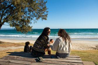 Indhu Jayakody~Hubberstey and Ali Zielinska at Wategos Beach in Byron Bay.