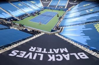 The empty stadium in New York.