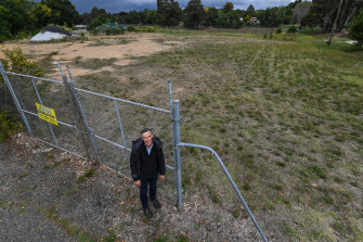 Associate professor Ian McShane, from RMIT's Centre for Urban Research, at a Castlemaine school site being prepared for sale.