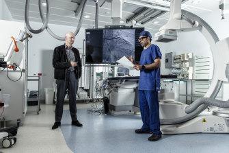 Matthew Gray and Professor Ravinay Bhindi, head of cardiology at Royal North Shore Hospital.