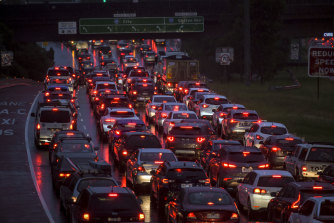 Traffic on the Eastern Freeway just after 7am.