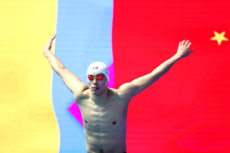 Sun Yang prepares for the 800 metres final at the FINA world championships in South Korea.