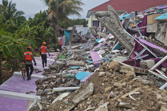 Members of police K-9 squad lead a sniffer dog during a search for victims at a hospital building collapsed in Friday's earthquake in Mamuju, West Sulawesi.