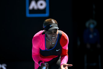 Serena Williams shows her frustration during her semi-final loss to Naomi Osaka on Thursday.