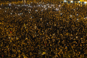 Hong Kong was wall-to-wall with people on Sunday night.