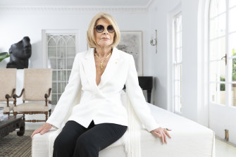Carla Zampatti, pictured in her Woollahra home in 2018.