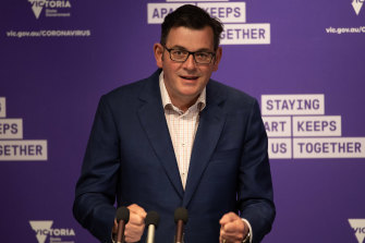 Premier Daniel Andrews provides an upbeat assessment at Friday's press conference.