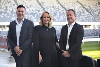 Network Ten's Jarrod Villani and Beverley McGarvey with APL managing director and Sydney FC chief executive Danny Townsend at Bankwest Stadium on Wednesday.