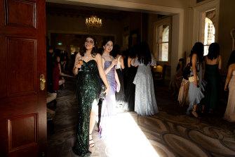 Mercoria Farhoud and Emma Madden arrive at the St George Girls High School formal.