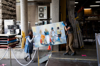 Entries for the Archibald, Wynne and Sulman prizes arrive at Art Gallery of NSW in Sydney on Wednesday.