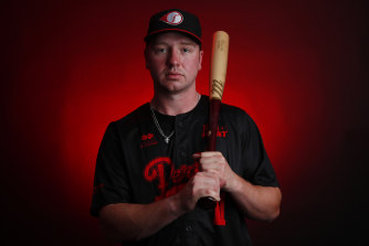 Perth Heat recruit Grant Witherspoon, who flew over from America for the Australian Baseball League season.