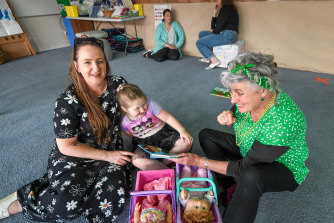 At play: Cassie Turner with daughter Arlie and early years support teacher Cathy Pianta.