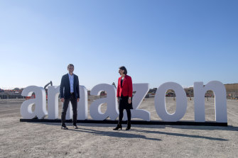Amazon Australia country manager Matt Furlong and NSW Premier Gladys Berejiklian on Tuesday at Kemps Creek in Sydney's west.
