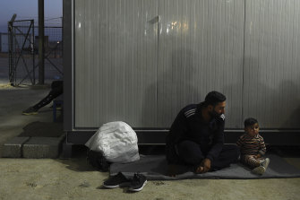Hamid Abadi and his two-year-old son Fawaz, from Ras Al Ain in Syria, fled into Iraq.