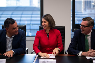 Deputy Premier John Barilaro, Premier Gladys Berejiklian and Treasurer Dominic Perrottet during the first cabinet meeting after the election.