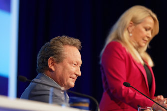 Andrew Forrest and Fortescue chief executive Elizabeth Gaines.
