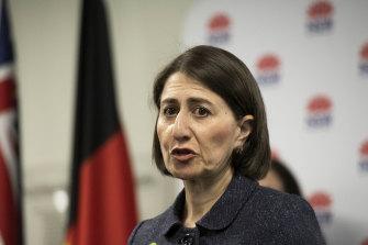 NSW Premier Gladys Berejiklian addresses the media on Monday.
