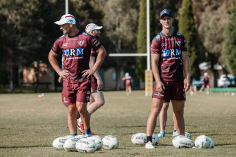 Kieran Foran and Daly Cherry-Evans at pre-season training with Manly.