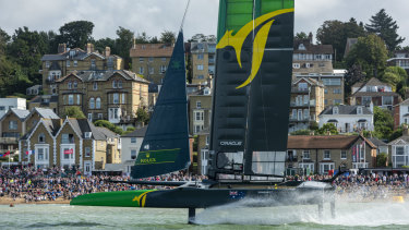 Speed record: Australia's F50 craft sizzled in victory at Cowes.