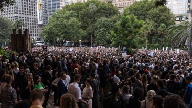 Protesters rally in Hyde Park against Sydney's lockout laws earlier this year.