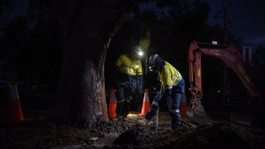 Water Corporation workers dig up the main to check for any signs of a leak.