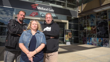 Ned and Karen Stamenich with Retail and Fast Food Workers Union secretary Josh Cullinan outside the Midland Gate shopping centre in Perth's east where their Donut King store is located.