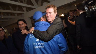 Liberal candidate Christian Porter celebrates his victory in the electorate of Pearce.