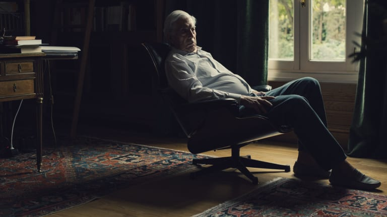 Mario Vargas Llosa at the home in Madrid he shares with his partner, Isabel Preysler.