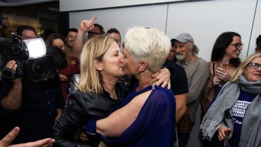 Kerryn Phelps and her wife Jackie. on Saturday night.