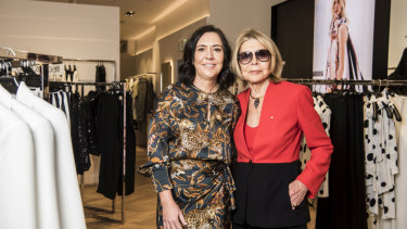 David Jones head of womenswear  Bridget Veals with Carla Zampatti on the new womenswear designer floor.