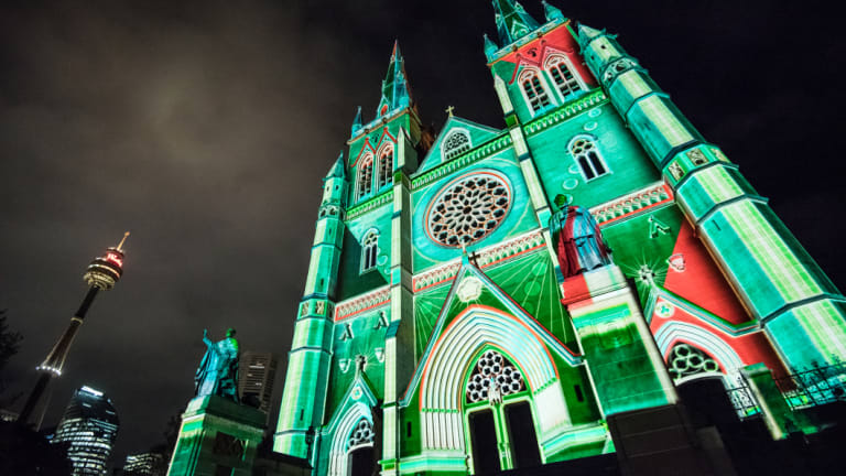 St Mary's Cathedral in Sydney lit up at Christmas.