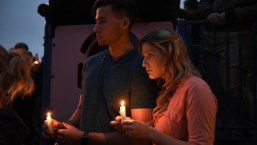 A vigil outside the Poway synagogue, near San Diego.