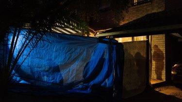 Police raid Isaak el Matari's Greenacre home on Tuesday.