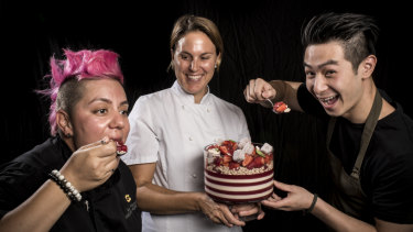 Chef Anna Polyviou's 'Strawberry Pop' trifle includes jelly, rice bubbles, strawberries, vanilla panna cotta and basil.