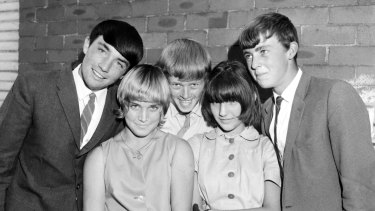 School students show off their Beatle haircuts in Gordon in Sydney's north on 25 February 1964, the year of The Beatles' Australian tour.